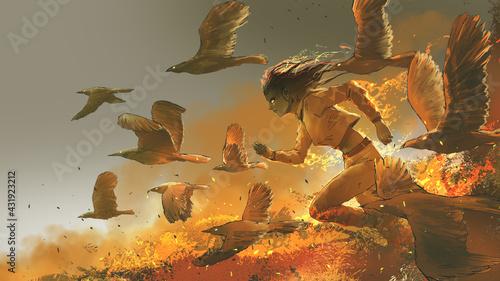 Fotografie, Obraz woman running among the fire birds, digital art style, illustration painting