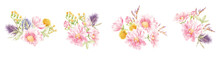 Set Of Floral Watercolor Bouquets Of Pink Flowers And Herbs