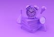 Leinwandbild Motiv 3D Render Clock with books in minimal style Illustration.