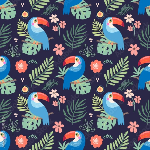 Fototapeta premium Tropical seamless pattern with colorful toucans and leaves