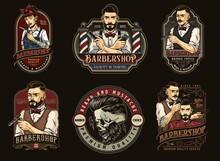 Barbershop Colorful Vintage Designs Set