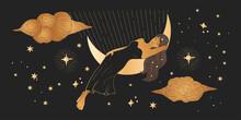 Celestial African American Woman Sacred Astrology Feminine Boho Esoteric Golden And Black Black Art. Girl Sleeping On The Moon. Star Magic Golden Vector.
