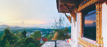 Panoramic View On Phuket Island From A Viewpoint Of Hilltop Near A Decorated Temple. Phuket, Thailand.