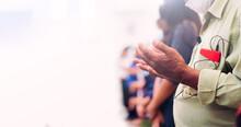 Senior Man Praying Worship Church On White Background.Old Man Hand Praying,Hands Folded In Prayer.Good Friday, Easter, Forgiveness.faith, People, Fasting And Religion.worship, Praise, Holy Spirit.
