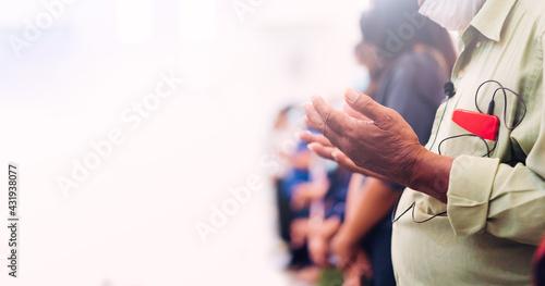 senior man praying worship church on white background Fototapet