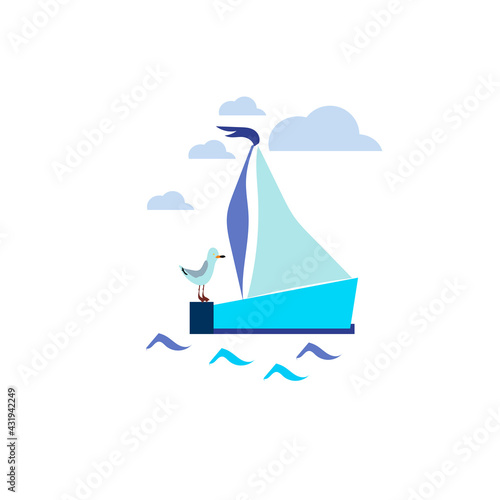 Photo simple modern boat yacht mainsail intersect with ocean water wave bellow,, logo
