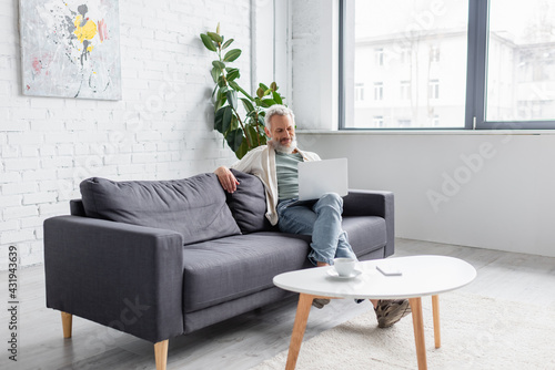 Obraz happy bearded man with grey hair sitting on couch and using laptop in living room. - fototapety do salonu