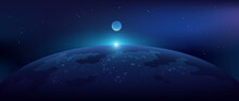 Futuristic Space Background. Planet With Glowing Lights Of Cities. Outer Space