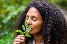 Mid Adult Woman With Eyes Closed Smelling Leaf In Forest