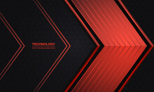 Red Arrows On A Dark Hexagonal Grid Abstract Technology Background. Luxury Overlap Direction Design. Futuristic Modern Red Metallic Arrows And Dark Gray Honeycomb Backdrop. Vector Illustration EPS10.