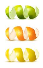 Lime, Orange, Lemon Zest Spiral Isolated White Background