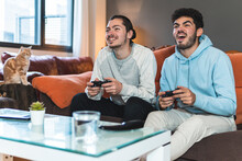 Young Men Playing Video Game While Sitting On Sofa At Home