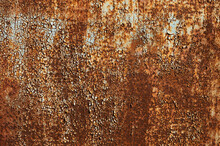 Old Flaky Paint On A Metal Surface. Red Green Grunge Texture