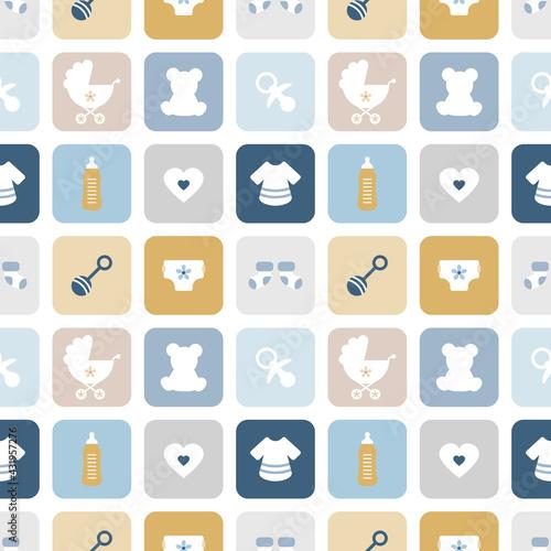 Fototapeta Endlosmuster Babysymbole Quadrate Junge Retroblau Senfgelb obraz