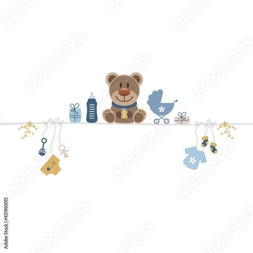 Brauner Teddy Auf Leine Mit Babysymbolen Junge Retroblau Senfgelb - fototapety na wymiar