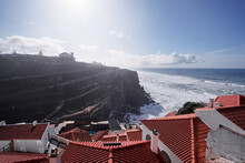 Beautiful Landscape With Red Tiled Roofs And Ocean Shore. View From Azenhas Do Mar, A Tiny Coastal Town Near Sintra, Lisbon, Portugal.