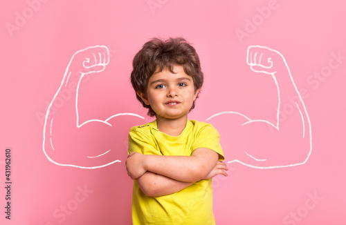 Fototapeta Strong little man child with bicep muscles picture