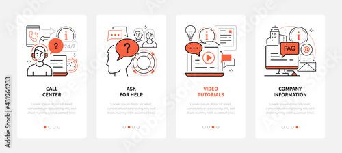 Contact us - modern line design style web banners - fototapety na wymiar