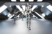 Three Dimensional Render Of Gynoids Walking Down Futuristic Corridor