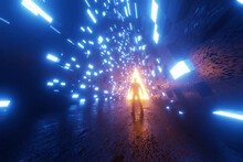 Three Dimensional Render Of Silhouette Of Man Standing In Front Of Triangle Shaped Portal Glowing At End Of Futuristic Corridor