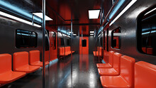 Three Dimensional Render Of Interior Of Black And Red Subway Train