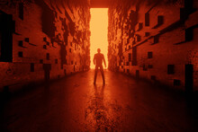Three Dimensional Render Of Silhouette Of Man Standing In Front Of Rectangular Portal Glowing At End Of Futuristic Corridor