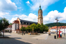 St George's Church Against Cloudy Sky At Market Square In Eisenach, Germany