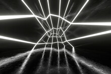 Three Dimensional Render Of Empty Futuristic Interior Illuminated By Glowing Lines