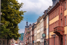 Haupt Street Well Known For Shopping And Dinning In The Old City Of Heidelberg, Germany