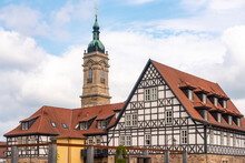 Half-timbered Houses At Luther Square Near St George Church Against Cloudy Sky In Eisenach, Germany