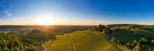 Germany, Baden Wurttemberg, Stuttgart, Aerial View Of Vineyards At Sunset In Autumn