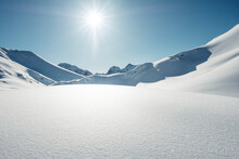 Sunlight On Snowcapped Mountain During Winter, Lechtal Alps, Tyrol, Austria