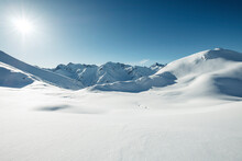 Mountain Covered In Snow During Sunny Day, Lechtal Alps, Tyrol, Austria