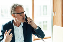 Worried Businessman Talking On Telephone In Office