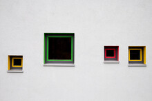 Colored Window Frames On White Wall