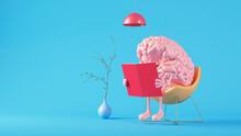 Three Dimensional Render Of Human Brain Reading Book