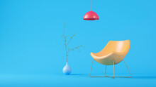 Three Dimensional Render Of Red Light Fixture, Yellow Empty Armchair And Plant Potted In Blue Vase