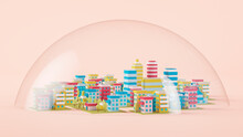 Three Dimensional Render Of Glass Dome Covering Diorama Of Colorful City