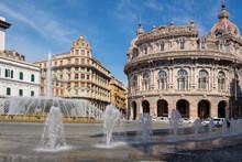 Italy, Liguria, Genoa, Fountains On Piazza De Ferrari