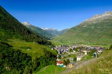 Switzerland, Uri, Andermatt, Village In Summer Mountain Landscape