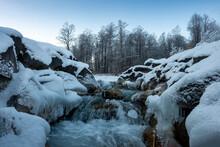 Germany, Bavaria, Isar Valley, Stream In Winter