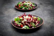 Studio Shot Of Two Plates Of Vegetarian Salad With Lentils, Arugula, Feta Cheese, Radicchio And Bell Pepper
