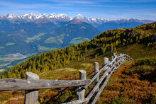 Italy, Wooden Fence In Dolomites