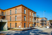 Germany, Bavaria, Munich, New Development Area With Energy Efficient Wooden Houses