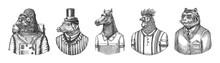 Gorilla Monkey Astronaut. Pig Hairdresser Or Vitorian Gentleman. Horse Polo Player. Rooster Tennis Player. Tiger Doctor In A Suit. Engraved Monochrome Old Illustration. Hand Drawn Sketch.