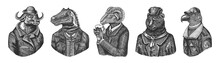 Buffalo Bull In Hat. Dinosaur Allosaurus Tyrex Quiz Gentleman. Sheep Drinks Beer. Bear In Russian Fur Coat. Eagle Aviator Pilot. Engraved Monochrome Old Illustration. Hand Drawn Sketch.