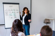 Female Entrepreneur Discussing Strategy With Colleagues In Boardroom At Office