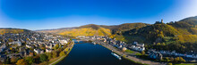 Germany, Rhineland-Palatinate, Bernkastel-Kues, Helicopter Panorama Of Moselle And Surrounding Town In Summer