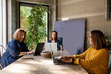 Female Colleagues Discussing While Sitting At Conference Table In Board Room