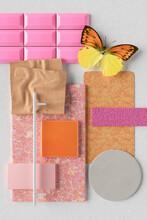 Three Dimensional Render Of Various Interior Design Material Samples And Decorations